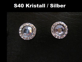 1 Stück Snap Button mit Strass-Steinen, 12 mm, Modell S40, Kristall / Silber