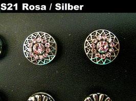 1 Stück Snap Button mit Strass-Steinen, 12 mm, Modell S21, Rosa / Silber