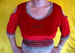 Orientalisches Top aus Pannesamt mit Perlenbestickung, rot/silber