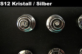 1 Stück Snap Button mit Strass-Steinen, 12 mm, Modell S12, kristall/silber