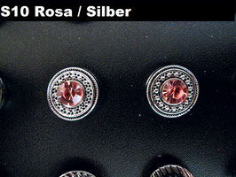 1 Stück Snap Button mit Strass-Steinen, 12 mm, Modell S10, rosa/silber