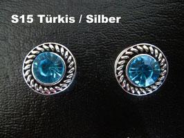 1 Stück Snap Button mit Strass-Steinen, 12 mm, Modell S15