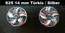1 Stück Snap Button mit Strass-Steinen, 14 mm, Modell S25