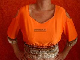 Orientalisches Top aus Lycra mit Perlenbestickung, orange/silber
