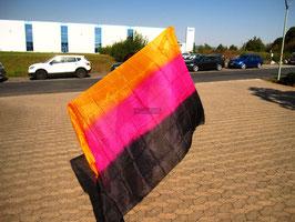 Seidenschleier, Orange Pink Schwarz, rechteckig, 270 cm x 110 cm, B-Qualität, 5 mm Seide