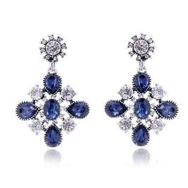 """Ohrringe """"Opal Diamond"""", silberfarben mit kristallfarbenen und farbigen Strass-Steinen"""