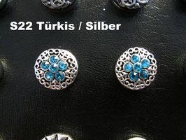 1 Stück Snap Button mit Strass-Steinen, 12 mm, Modell S22