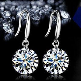 """Ohrringe """"Diamond"""", silber- oder goldfarben mit farbigem Strass-Stein"""