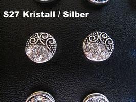1 Stück Snap Button mit Strass-Steinen, 12 mm, Modell S27
