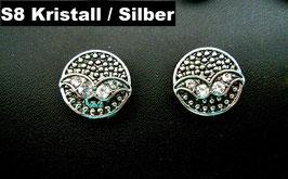 1 Stück Snap Button mit Strass-Steinen, 12 mm, Modell S8, kristall/silber