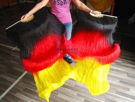 1 Paar Schleierfächer, Schwarz Rot Gelb, rechts + links, B-Qualität, 150 cm