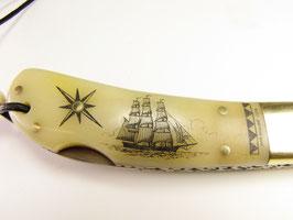 Damaszener Messer mit Scrimshaw-Gravur und Filework #DK4