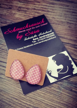 """Ohrstecker """"Rosa weiß gepunktet klein"""""""
