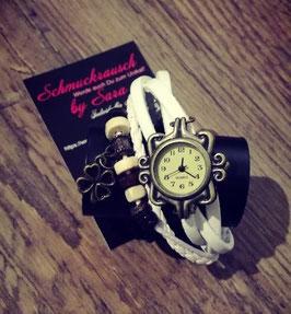 Wickelarmband weiß mit Uhr und Kleeblattanhänger