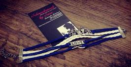 "Wickelarmband blau-weiß ""Love"""