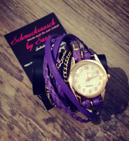 Wickelarmband lila mit Golduhr