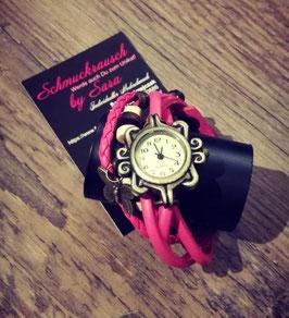 Wickelarmband pink mit Uhr und Schmetterlingsanhänger