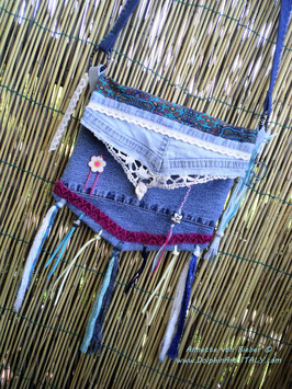DENIM GYPSY SHOULDER/HAND BAG *HAPPY GYPSY HEART*