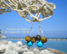 Earrings *TURQUOISE MEETS TIGER'S-EYE*