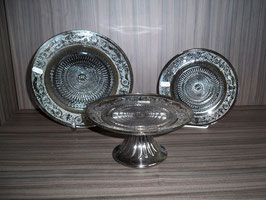 Glasteller silber-grau