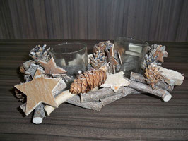 Teelichthalter  Natur Holz 2er