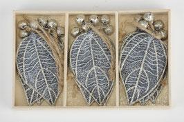 Blatt grau silber - 9er Box