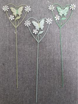 Herz am Stab mit Schmetterling