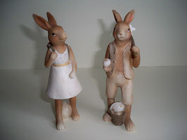 Hasenpaar Klassik Pastell 16 cm
