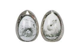 Osterei silber mit Motiv 8 cm