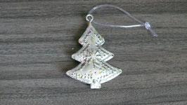 Weihnachtshänger metall silber Baum H166