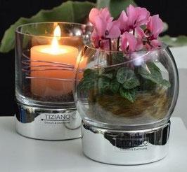 Windlicht Castello mini silber Zylinderglas