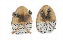 Ostereier Holz mit Feder