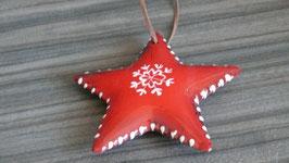 Stern Keramik rot Schneeflocke