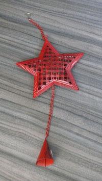 Hänger Stern mit Glocke rot H152