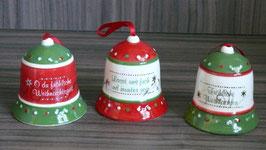 Hängeglocke  8 cm Weihnachtsgruß