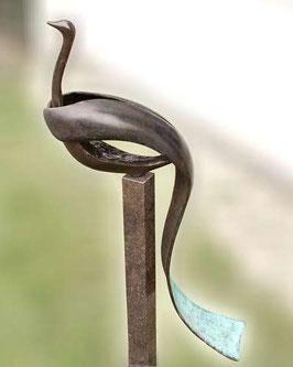 """Skulptur aus Bronze """"Traumvogel"""" 75 x 13 cm"""