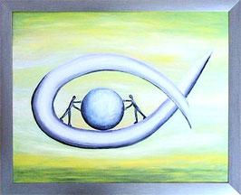 """Skulpturen Ölbild """"Mit vereinten Kräften"""""""