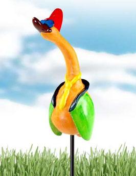 """Skulptur """"Bunter Gelehrter Vogel"""" 26 cm"""