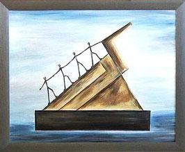 """Skulpturen Ölbild """"Der Grundpfeiler für erfolgreiches Wachstum"""""""