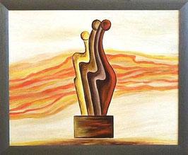 """Skulpturen Ölbild """"Erfolgreiche Entwicklungen"""""""