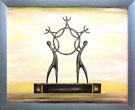 """Skulpturen Ölbild """"Im Kreis der Neuerungen"""""""