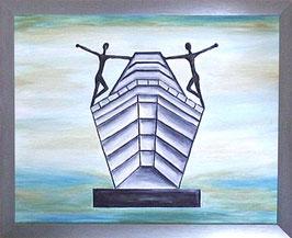 """Skulpturen Ölbild """"Entscheidende Schritte"""""""