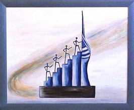 "Skulpturen Ölbild ""Auf Erfolgskurs"""
