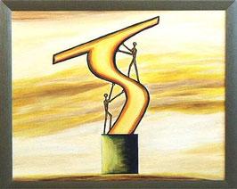 """Skulpturen Ölbild """"Teampower"""""""