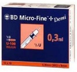 BD Micro-Fine+U100 0,3ml - Insulinspritzen, 100 St