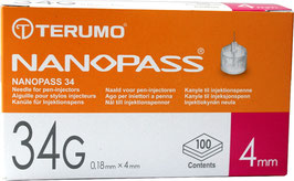TERUMO NANOPASS (34G) Pen Kanüle 4mm - 100 St