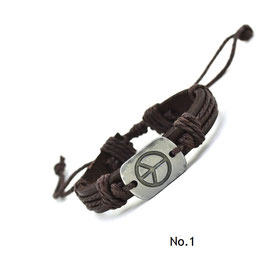 KLASSIKER Vintage Peace-Armband in Leder
