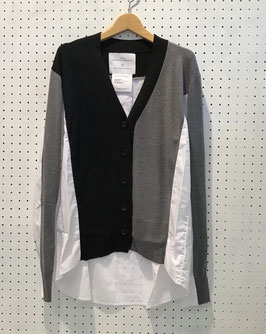 V-NECK CARDIGAN KNIT (BLACK-GR)