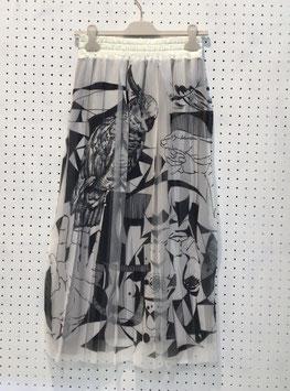 NAKAGAMI スカーフ柄プリーツスカート