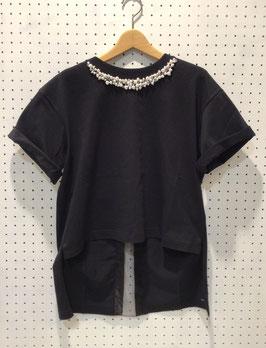 YuumiARIA パール付きTシャツ(Black)